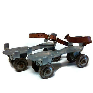 Vintage Union Hardware Roller Skates, Children's No. 5 Metal Wheel Roller Skates, Canadian Biltrite Skates