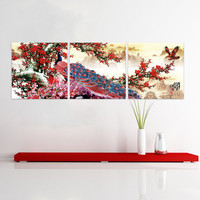 Peacock Cherry Blossom Flower Tree Chinese Painting Style Canvas Fiberboard Print Wall Art 3 Panel Set