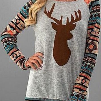 Print Deer Christmas T-shirts [9609317519]