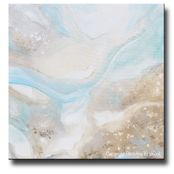 GICLEE PRINT Art Abstract Painting Sea Beach Pale Blue Green Grey Beige White Modern Fine Art Coastal Decor Wall Art 36x36""