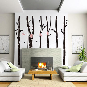 Large Forest Bird Room Bedroom Background Wall Stickers SM6