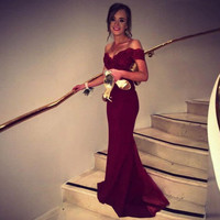 Mermaid Burgundy Long Evening Dress Party Elegant Vestido De Festa Long Prom Gown  With Belt
