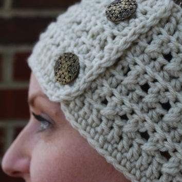 Crochet Headband Earwarmer Accessory Warm for Fall Winter with Two Buttons Christmas Gift Present Beige Natural Color Acrylic Yarn