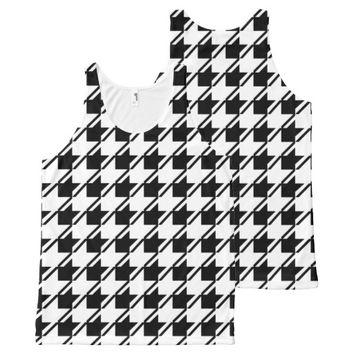 Black White Houndstooth All-Over-Print Tank Top