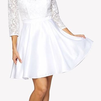 Lace Sequins Top Mid-Length Sleeves A-Line Short Prom Dress White