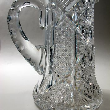 American Brilliant Period Cut Glass  pitcher Antique 6.75 lbs
