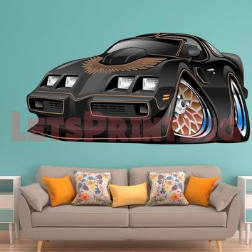 Classic muscle car wall decals 1979 Pontiac Trans Am Bandit Warp Black REMOVABLE REPOSITIONABLE