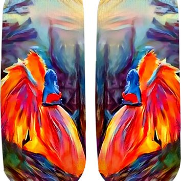 Surreal Angel, colorful girls ankle socks design, abstract artwork all-over-print