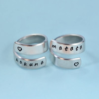 [♡033] hakuna matata - Hand Stamped Spiral Rings Set, Lion King Inspired Rings