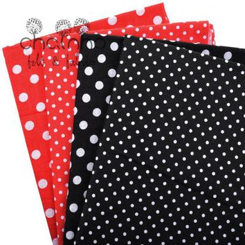 Thin Plain Printed Tida Cotton  Fabric Patchwork Material For Sewing Quilting Polka Dot Bundle Cloth Tissus 4pcs/lot 24cm*24cm