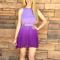 Purple Ombre Sleeveless Shift Dress