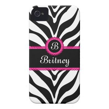 Zebra Print Monogram Name Id Iphone 4 Case from Zazzle.com