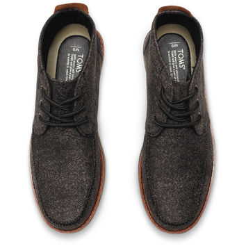 Black Herringbone Men's Chukka Boots