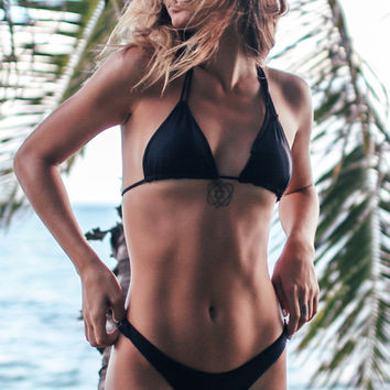 LITTLE BLACK BIKINI Double String Halter Top