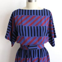 Vintage 80s Blue Fuchsia Geometric Print Dolman Belted Dress // S - Large