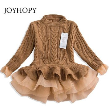 Thick Warm Girl Dress Christmas Wedding Party Dresses Knitted Chiffon Winter Kids Girls Clothes Children CLothing Girl Dress