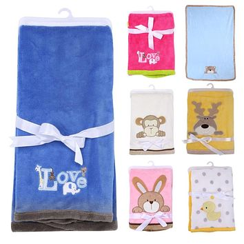 Super Soft Polyester Baby Blanket Infant Crib Bedding Cartoon Monkey Rabbit Bear Blanket Newborn Gift For Boy Girl