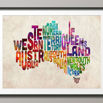 Typography Text Map of Australia, Art Print 18x24 inch (893)