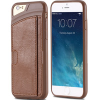 For iPhone 6 6S Plus Leather Cover Luxury Leather + Hard PC Hybrid Card Slot Case For iPhone 6 6S 4.7 For iPhone 6 Plus/6S Plus