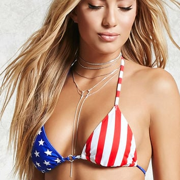 USA Flag String Bikini Top