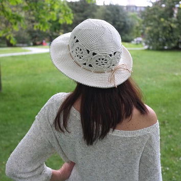 Crochet Summer Hat  Wide Brimmed Beach Hat Off-White Cotton Sun Hat Gift for Her Garden Party Hat  Church Hat Cool Hats by Mila