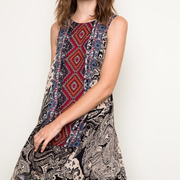 Tribal shift hi/low Dress