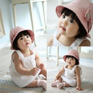 Puseky 2018 New Flower Print Cotton Baby Summer Hat Kids Girls Floral Bowknot Cap Sun Bucket Hats Double Sided Can Wear gorro