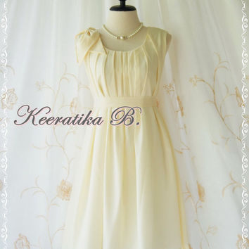 A Party Dress One Shoulder Layered Bow Dress Pale Yellow Dress Prom Dress Party Bridesmaid Dress Wedding Dress Anniversary Dress