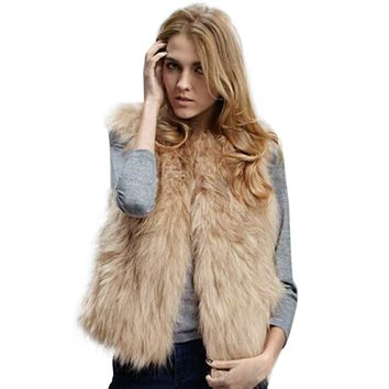 Coat Women Faux Fur Vest Shitsuke Fuorrure Femme Solid Fur Vests Fashion Luxury Peel Women's Jacket Gilet Veste knitted winter