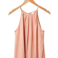 Blush Pleated Halter Top