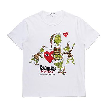 Mens CDG PLAY COMME DES GARCONS Play White Re-tartan Re-energy Holiday DSM limited edition Fashion T-Shirt
