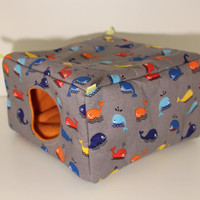 Rat Hanging Cube Hammock Guinea Pig Cozy Hamster House Degu Hidey Guinea Pig Cuddle Cup Gerbil Home Gray Cotton Blue Whales Orange Fleece