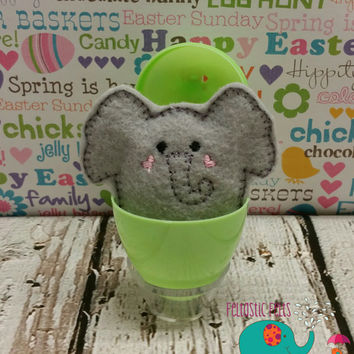 Tiny stuffed elephant egg buddy, embroidered, party favor, stuffed animal, stuffie, travel toy, stuffed toy, embroidery, grab bag, easter