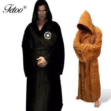PEAP2Q flannel robe male with hooded star wars dressing gown jedi empire long thick men s bathrobe nightgowns mens bath robe winter p30