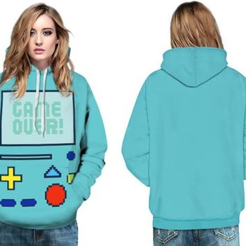 Green Adventure Time Skateboarding Sweatshirt Beemo Game Hip Hops Hoody Hoodies Autumn Active Ladies Jackets Full Sleeves Jacket