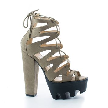 Vive64 Taupe Gray By Wild Diva, Cut Out Lace Up Ankle Wrap Lug Sole Platform Chunky Heels