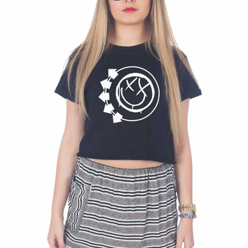 Blink 182 Logo For Womens Crop Shirt ***