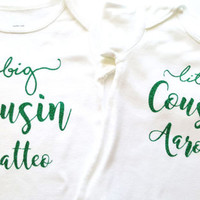 Big Little Cousin Brother Sister name bodysuit, silver gold glitter, personalized, Baby shower cute baby gift, custom bodysuit baby boy girl