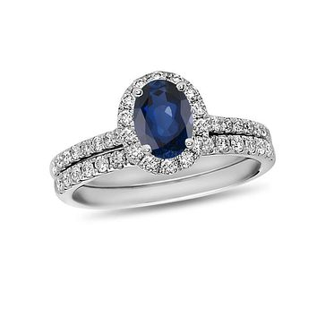 Oval Blue Sapphire and 5/8 CT. T.W. Diamond Frame Bridal Engagement Ring Set in 14K White Gold
