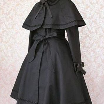 Black Two Piece Lolita Trench Coat Retro Style Lady's Long Coat With Poncho Jacket