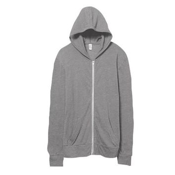Alternative Apparel Lightweight Eco-Jersey Zip Hoodie - Grey, XX-Large
