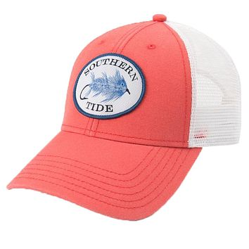 Skipjack Fly Patch Washed Trucker Hat in Sea Coral by Southern Tide