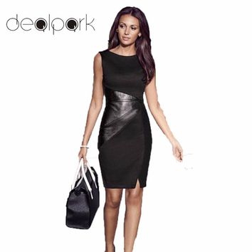 XXXL 4XL 5XL Large Size Dress Elegant OL Work Dress Women PU Leather Splice O-Neck Sleeveless Slim Midi Party Dresses Lady Black