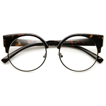 Indie Hipster Round Cat Eye Clear Lens Half Frame Glasses 9351