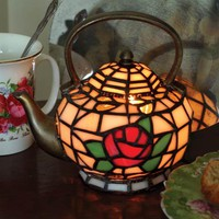 TEAPOT LAMP - Stained Glass Accent Lamp, Tiffany Tea Pot Lamp