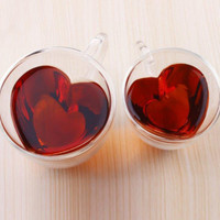 Glass Tea Cup With Handle Heart Shaped Clear Double Wall Lovers Coffee Afternoon Tea Double Layer Glass Mug