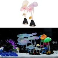 Aquarium Artificial Lotus Leaf Mushroom Glowing Fish Tank Ornament Decoration Color Random