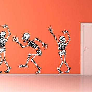 Dancing Skeletons Bones Halloween Party Wall Art Decal Sticker Removable Repositionable