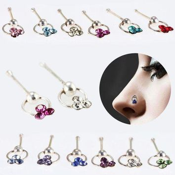 ac PEAPO2Q Fashion Crystal Flower Hoop Stud Nose Ring Earrings Lip Eyebrow Cartilage Piercing Rings Jewelry Gifts @M23