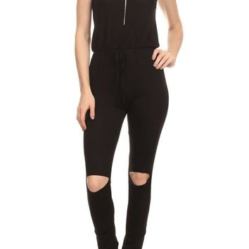Casual Sleeveless Hooded Bodycon Jumpsuit Romper